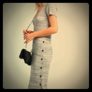 Anthropologie Marled Gray ribbed knit midi dress